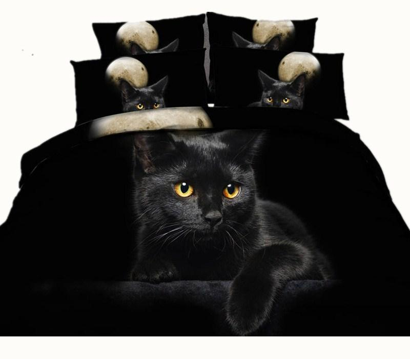 Moon Black Cat 3D Reaktiv Printed Bettwäsche-Sets Twin Full Queen King Size Tagesdecken Bettwäsche Bettbezüge Kissen Shams Tröster Tier