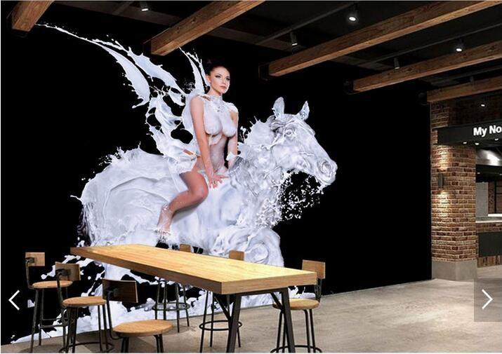 Creative hand-painted milk horse beauty KTV Hotel tooling background wall large mural wallpaper living room bedroom wallpaper painting TV ba
