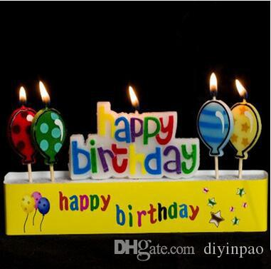 Wholesale Happy Birthday Candles Cartoon Balloon Letter Cake Hot Sale Creative Baking Art Decorations Fragrance Candle