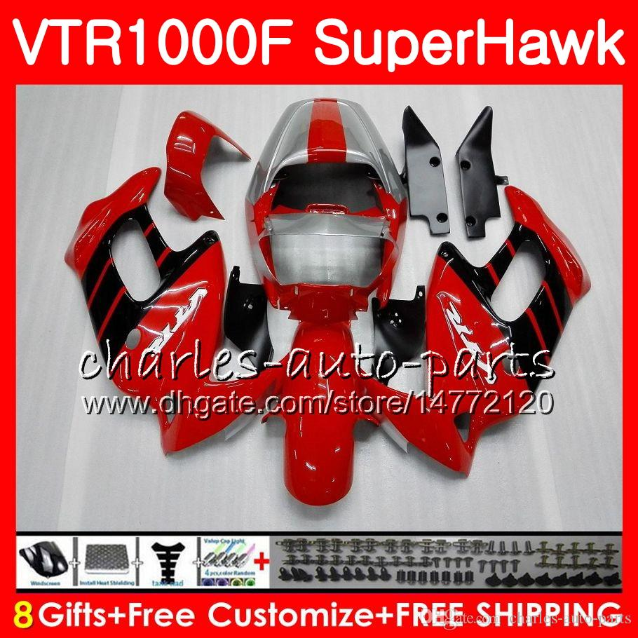 Honda VTR1000F SuperHawk 97 98 99 00 01 02 03 04 05 91HM3光沢のあるRed Blk VTR 1000F 1997 1999 2000 2002 2002 2004 2000フェアリング