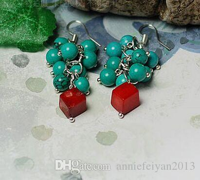 Fashion Bohemia Tibetan Style Red Coral Turquoise Chandelier / Pendant Charm Earrings Jewelry Birthday / Wedding / Regali di San Valentino