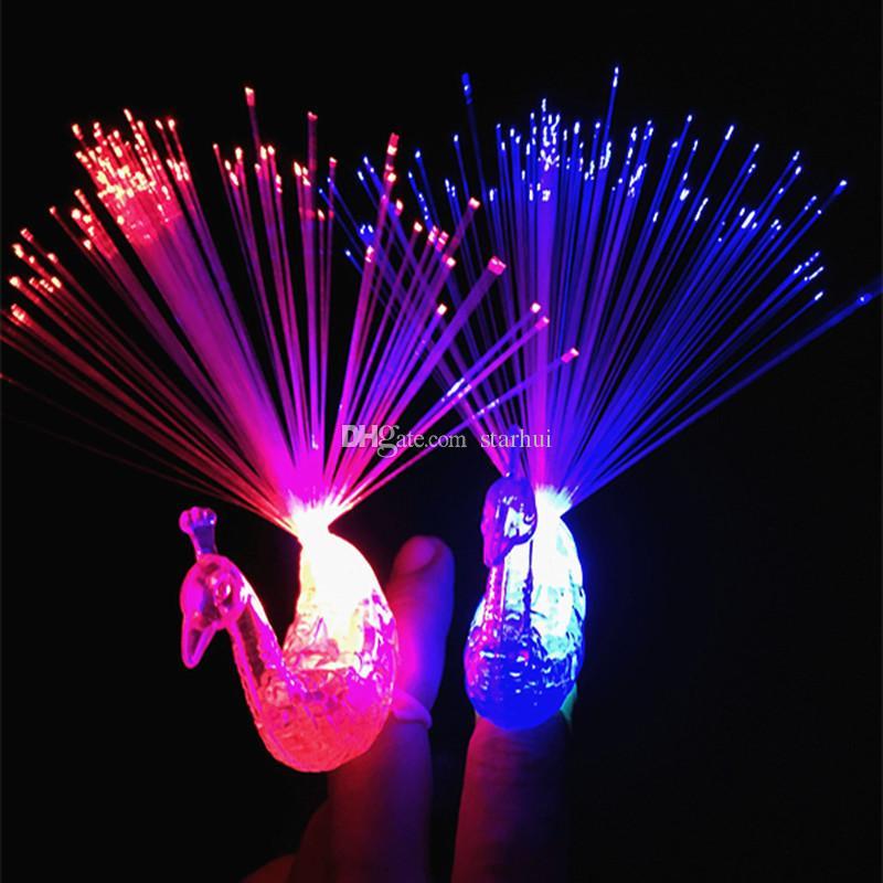 LED Colorido Luzes De Dedo De Fibra Óptica de Pavão Anéis Noite Luz Piscando Noite Luz Brinquedos de Festa de Natal Luzes Da Noite WX-T38