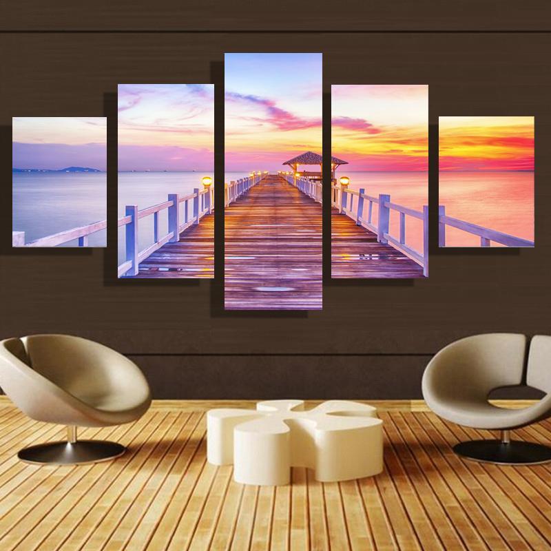 5p moderno Arredamento la casa HD immagine Stampa su tela parete artistica del salotto decorazione della camera dei bambini tema - Vista mare # 40