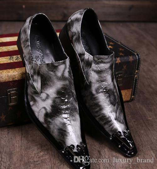 cf917b370550 Top Quality Men Brand Fashion Flats Pointed Toe Business Dress Shoes ...