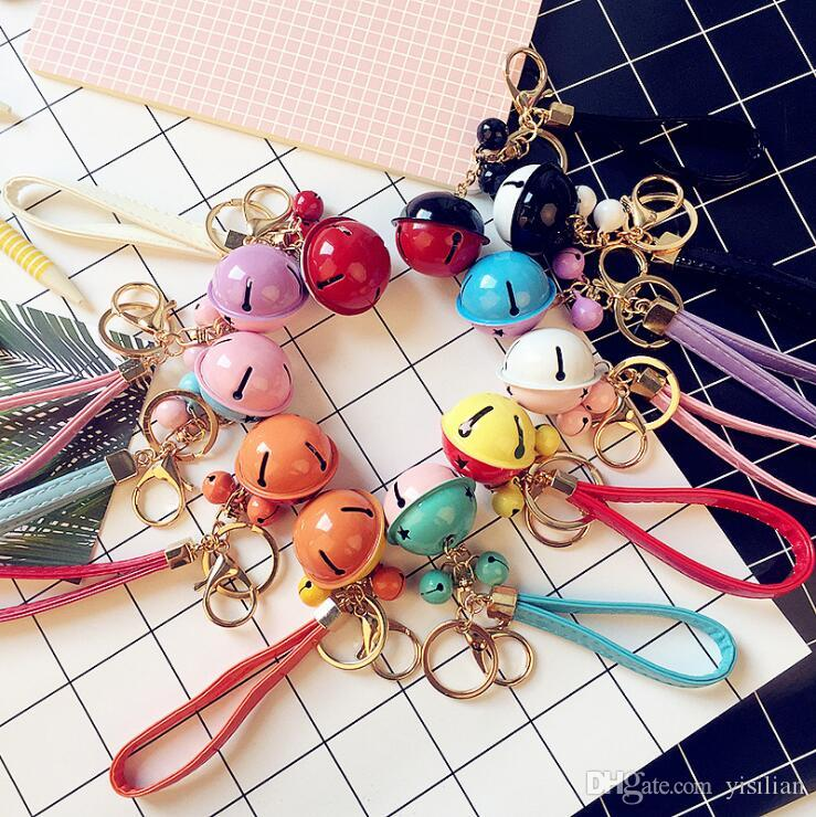 New two - color bell key chain creative gifts DIY key chain PU leather rope car bags pendant R247 Arts and Crafts mix order