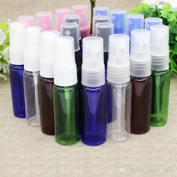 100 adet 20 ml mavi berrak siyah ile temizle kahverengi PET Şişeler Sprey Pompa Konteyner Yüksek dereceli Boş Plastik Sprey Şişe Doldurulabilir Parfüm