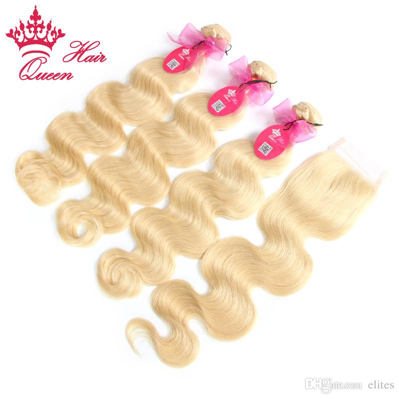 Queen Hair Products Brazilian Virgin Hair Body Wave 5A Grade Human Hair Lace Closure with Bundles, Bleached #613 Blonde