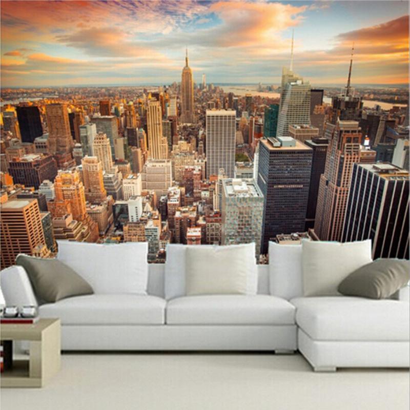 Custom 3d Murals Usa Skyscrapers New York City Megapolis Clouds ...