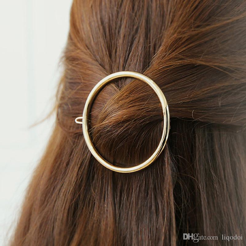 خمر الذهب / الفضة دائرة الشفاه الشفاه مثلث الشعر دبوس كليب الفتيات مقاطع الشعر المعادن اكسسوارات للشعر