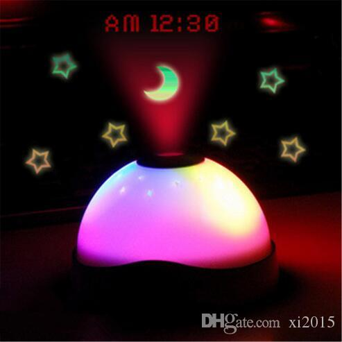 DHL Fedex Free Starry Digital Magic LED Projection Alarm Clock Night Light Color Changing alarm clock metal