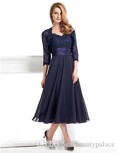 2e9834bcd74 Custom Made Tea Length Mother Of The Bride Groom Dress With Jacket Long  Sleeves Navy Blue Lace Plus Size Women Evening Formal Gown Mother Of The  Bride ...
