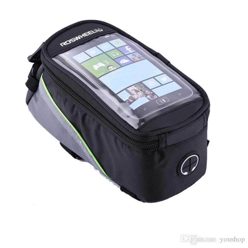Cycling Bike Bicycle Frame Pannier Bag Front Top Tube Bag Handlebar Saddle Bag Cell Phone Case Phone Holder GPS Bag with Headphone Jack