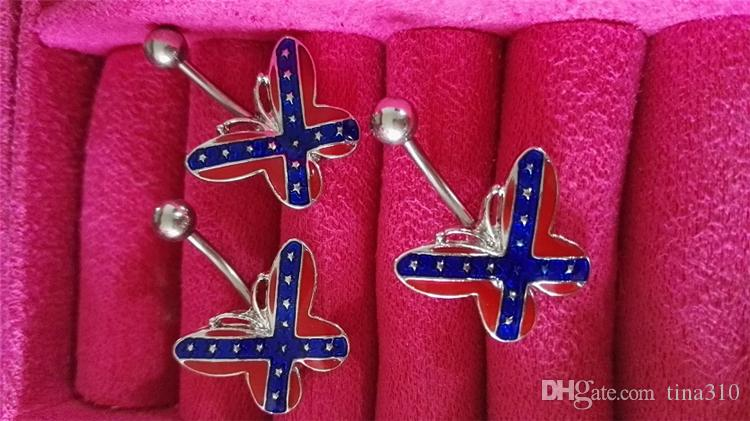 New Body Jewelry belly button rings lip nail earring butterfly umbilical ring coalition flag belly Navel rings 2991-2