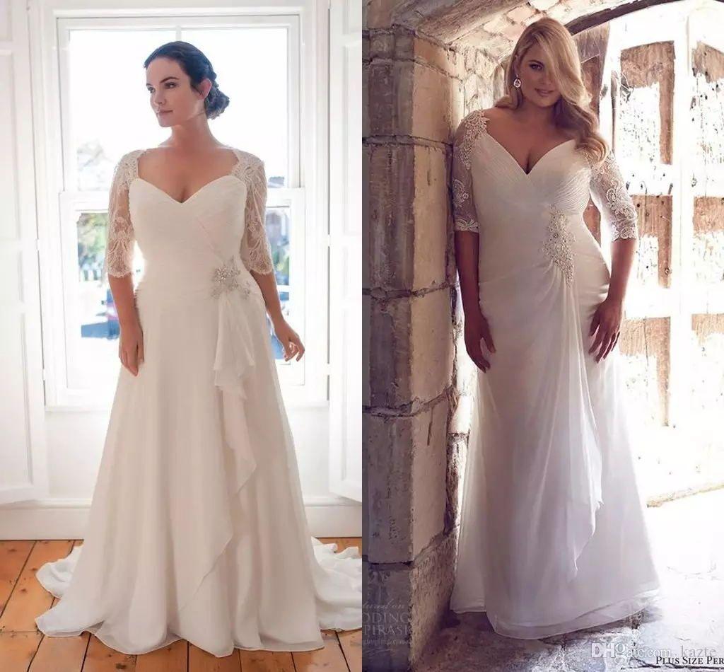 Discount Vintage Plus Size Wedding Dresses With Half Sleeve 2018