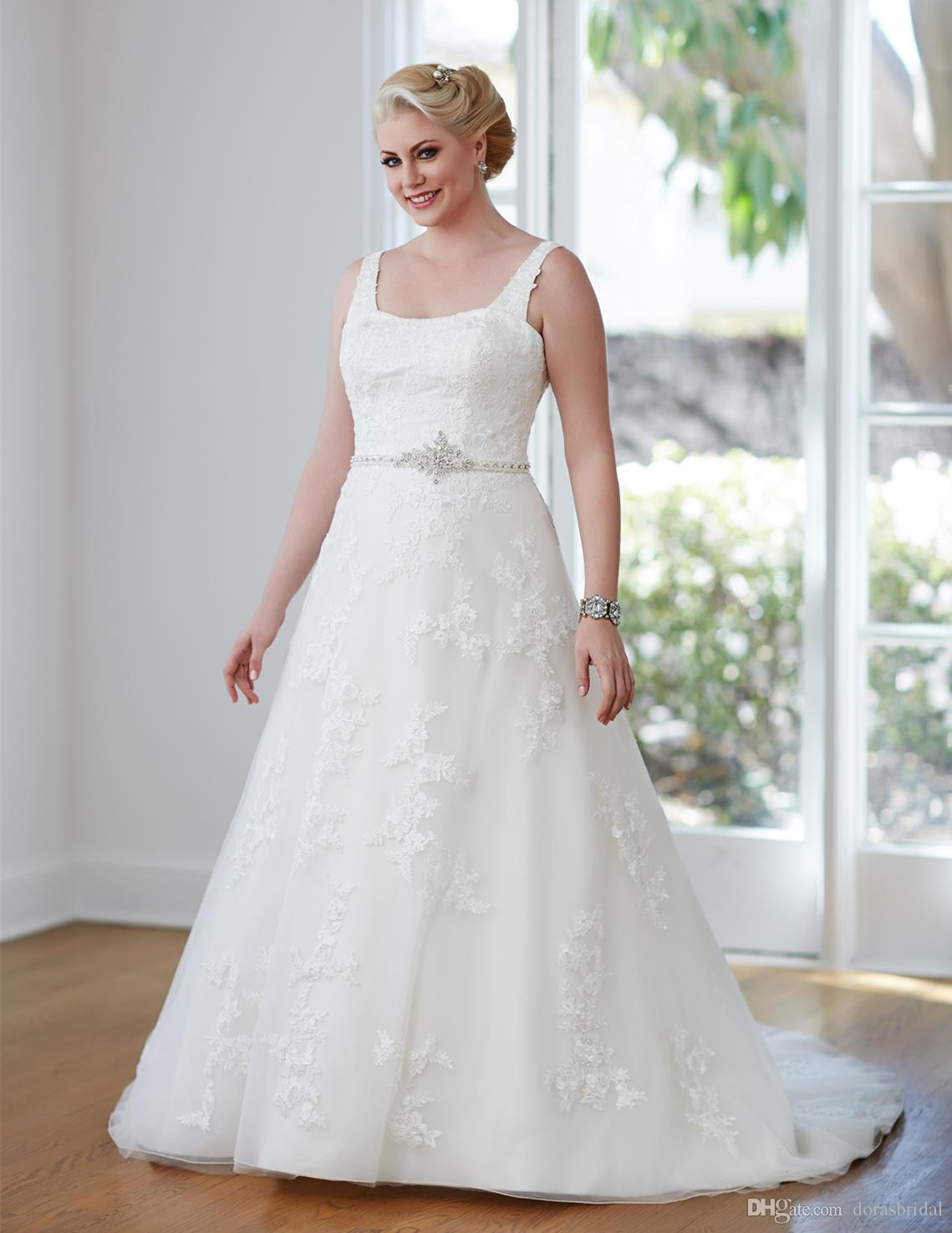 Plus Size Wedding Dress With Square Neck A-Line Tulle Court Train ...