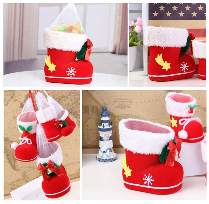 Sacchetti di caramelle di Natale, Sacchetti regalo di Babbo Natale Sacchetto di caramelle Cestini regalo portatili Xmas Candy Boots Decorazioni di ornamenti di Natale (taglia quattro)