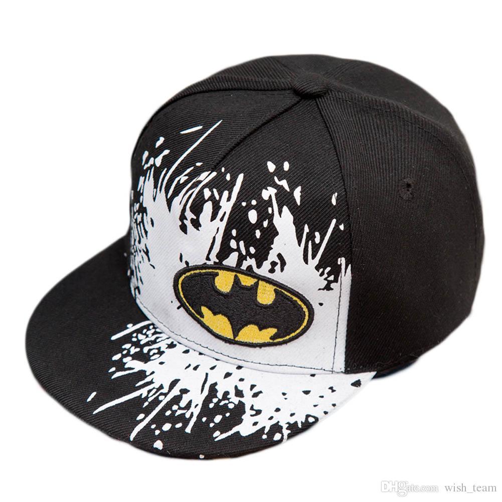 2017 nuevos Snapback Gorras Gorras Unisex Niños Hip-hop Snapback Batman Cap  Niños Ajustable Sombreros Planos 7093cea1347