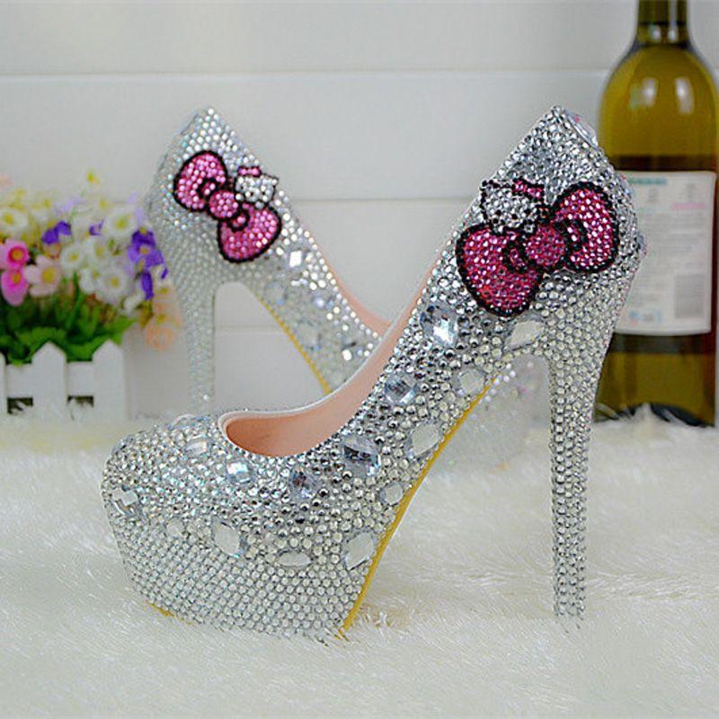 Hello Kitty Silver Rhinestone Bridal Wedding Shoes Graudation Party Prom  High Heel Shoes Formal Dress Pumps Plus Size Bridal Shoes High Street Bridal  Shoes ... df40814ec1a8