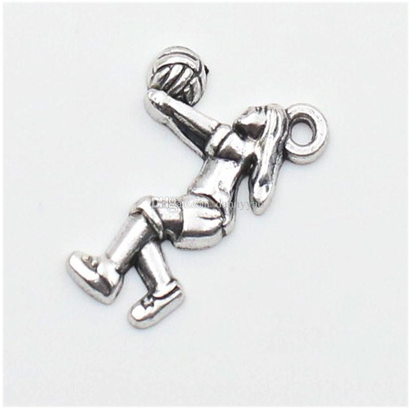 Wholesale Alloy Playing Volleyball Girl Charms Vintage Sport Pendant Charms AAC153