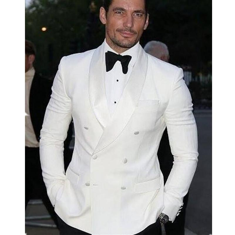 eac560e1d5 2019 Summer Style Custom Double Breasted Ivory White Man Suit Groom Tuxedo  Bespoke White Wedding Suits For MenJacket+Pants+Bow From Blueberry16