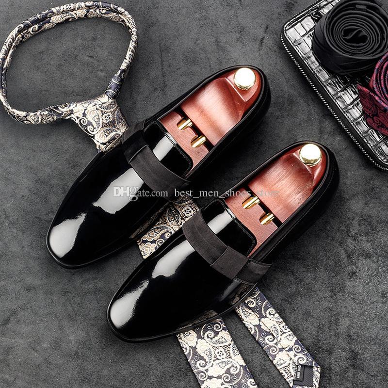 2018 zapatos de los hombres del otoño de charol de tacón plano estilo coreano hechos a mano del vestido de fiesta de la boda zapatos