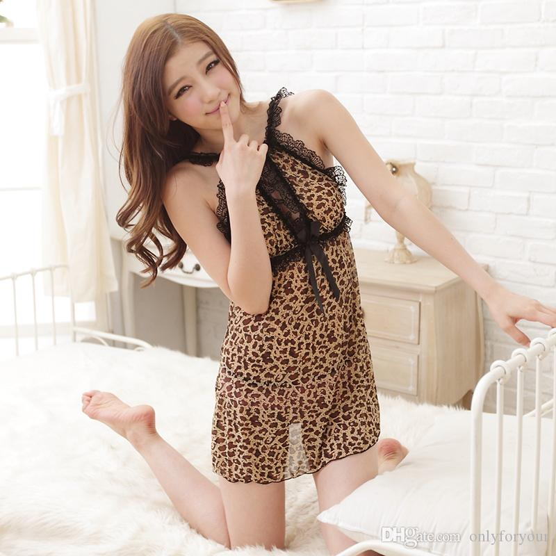 c1be2a919a43 Lingerie Sexy Hot Erotic Leopard Nightgown Women Exotic Appare Sleepwear O  Neck European And American Style Sexy Underwear Christmas Pajamas Lingerie  Models ...