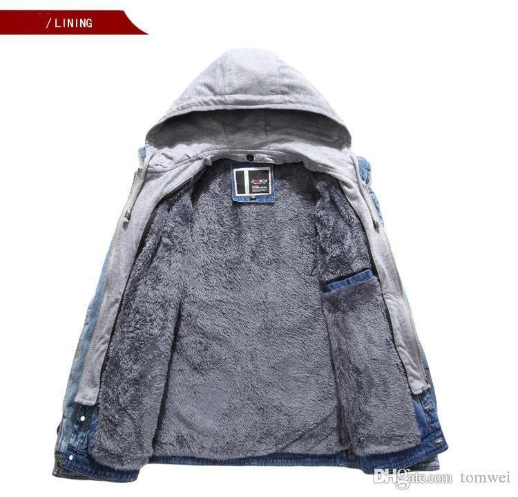 남성 브랜드 가을 겨울 자켓 후드 캐쳐 코트 두꺼운 아웃웨어 데님 청바지 오토바이 타는 사람 재킷 옥외 의류