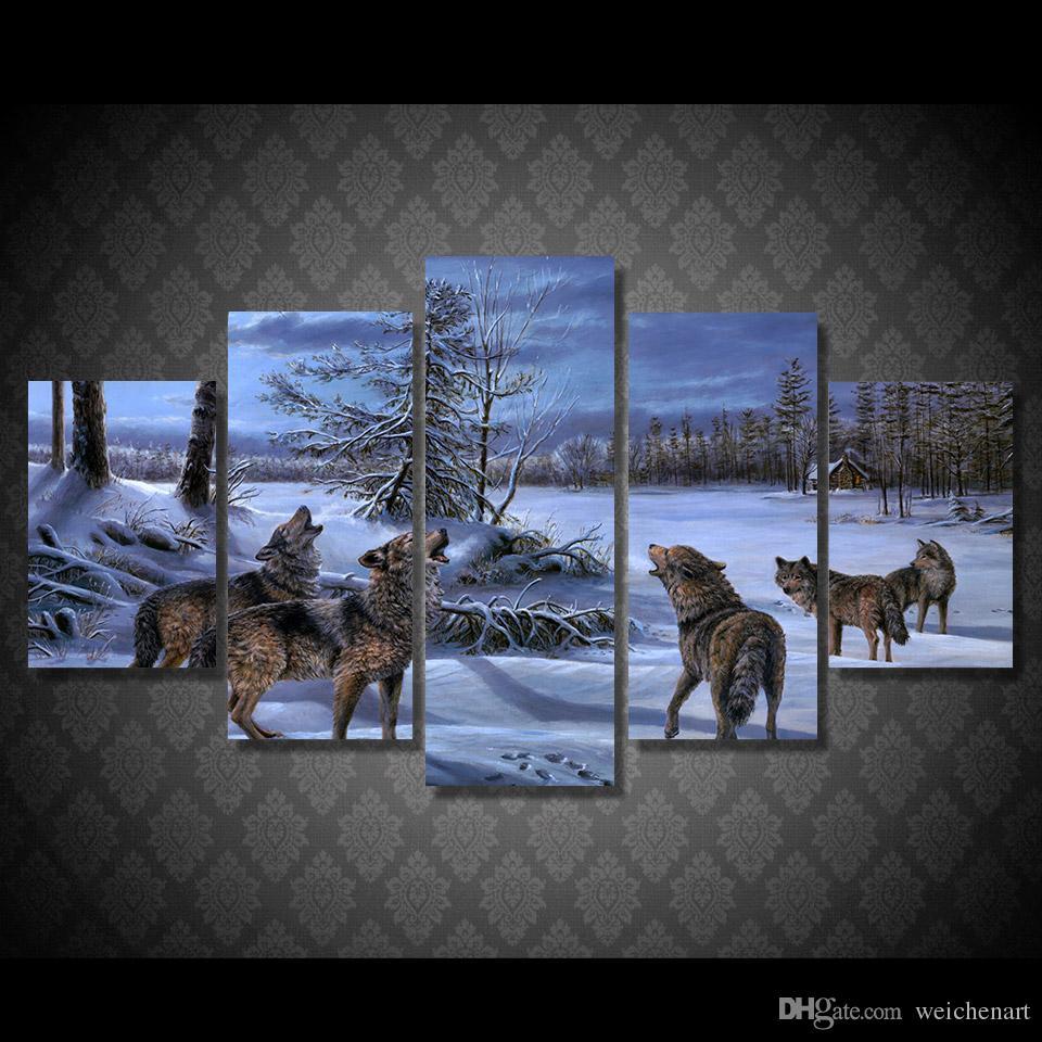 Tuval Boyama 5 Paneli HD Baskılı Kar Kurtlar Dekor Poster Resim Tuval Duvar Boyama yazdırın
