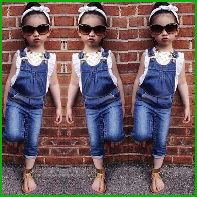 58dad967593c2 Acheter Petites Filles Salopettes Costumes Enfants Vêtements D'été Enfants  Sans Manches T Shirt Jarretelles Pantalons Jeans Enfant Vêtements Livraison  ...