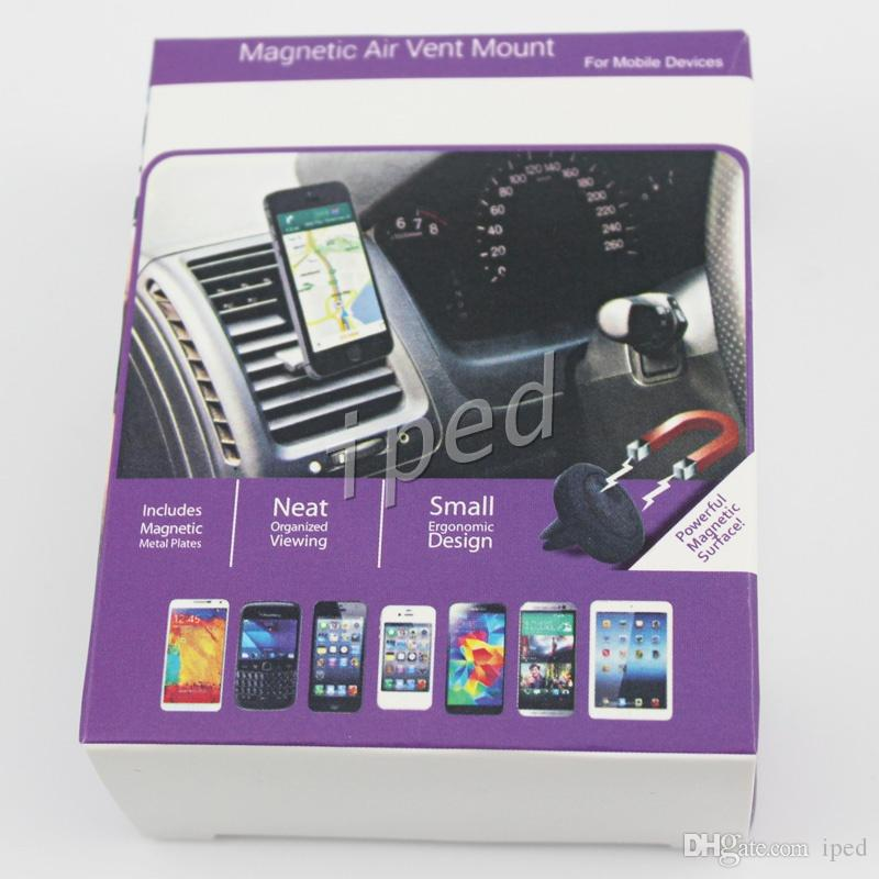 Cheapest Magnets Bracket Universal Magnetic Car Air Vent Holder Outlet Mount For iPhone Samsung Cell Phone Mounts Holders DHL Free