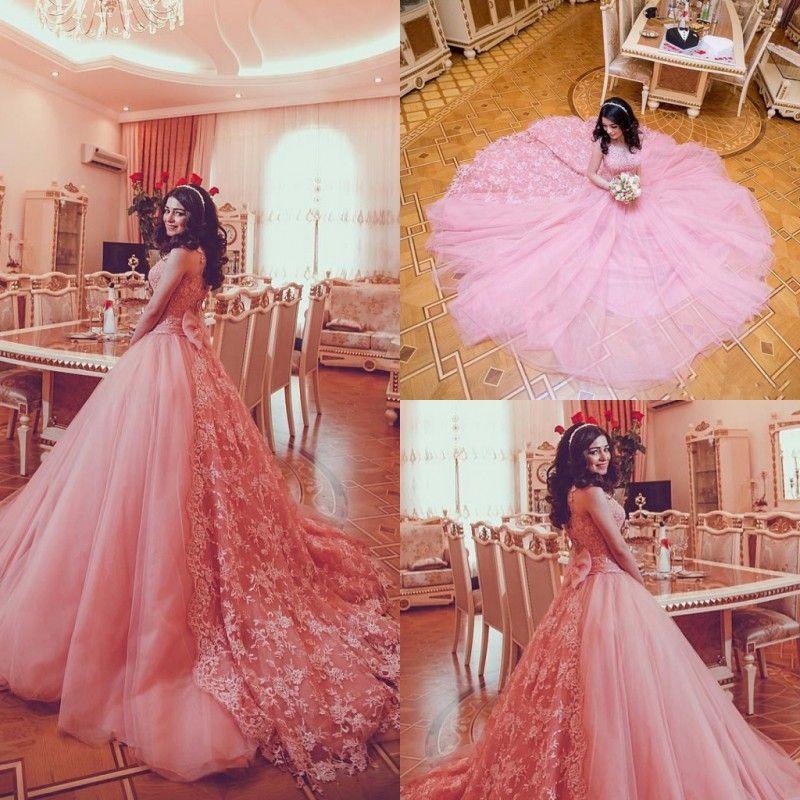 Pink Train Wedding Dresses
