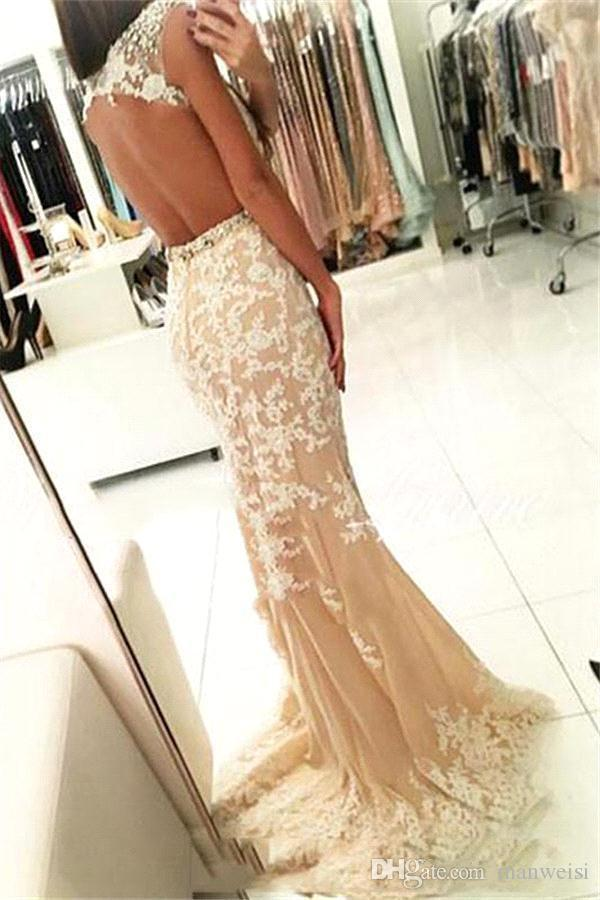 2018 Champagne Tulle Dresses Evening Wear Backless Cap Sleeve Sparkly Beading Sexy Long Pageant Party Dress Mermaid Prom Gowns Custom Made