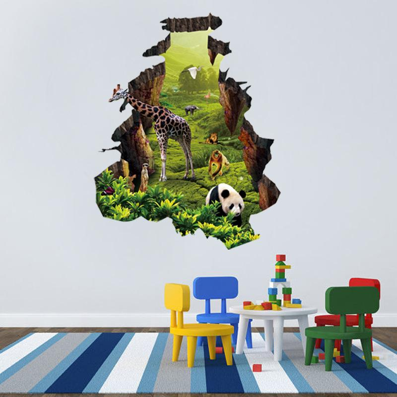 Animals 3d Wall Stickers Kids Rooms Panda Monkey Giraffe Elephant Lion  Wallpaper Nursery Mural Art Decal Living Room Home Decoration Circle Wall  Stickers ... Part 49
