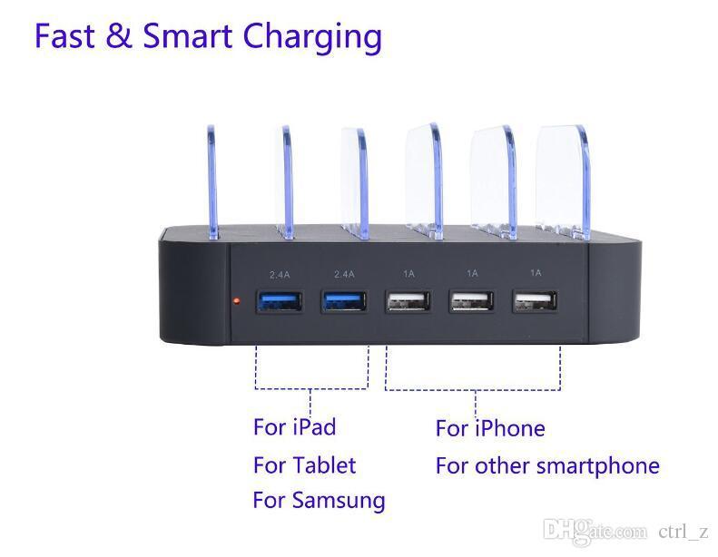 4 Ports USB Ladestation Dock Multi Ports Ladegerät Halter Tablet Ständer Halterung für iphone 6 7 ipad tablet