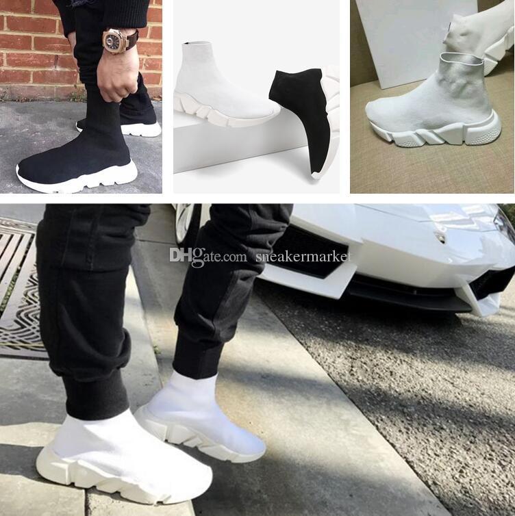 Acheter 2017 Noir Blanc Vitesse Entraîneur Femme Chaussure Homme Casual  Bottes Haute Qualité Stretch Tricot Haut Haut Entraîneur Chaussures Pas  Cher Sneaker ... 0702a8a4bb99