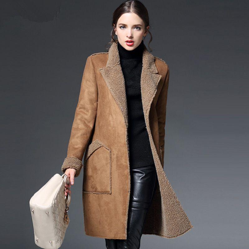 Großhandel Manteau Femme Winterjacke Damen Wildleder Lammfell