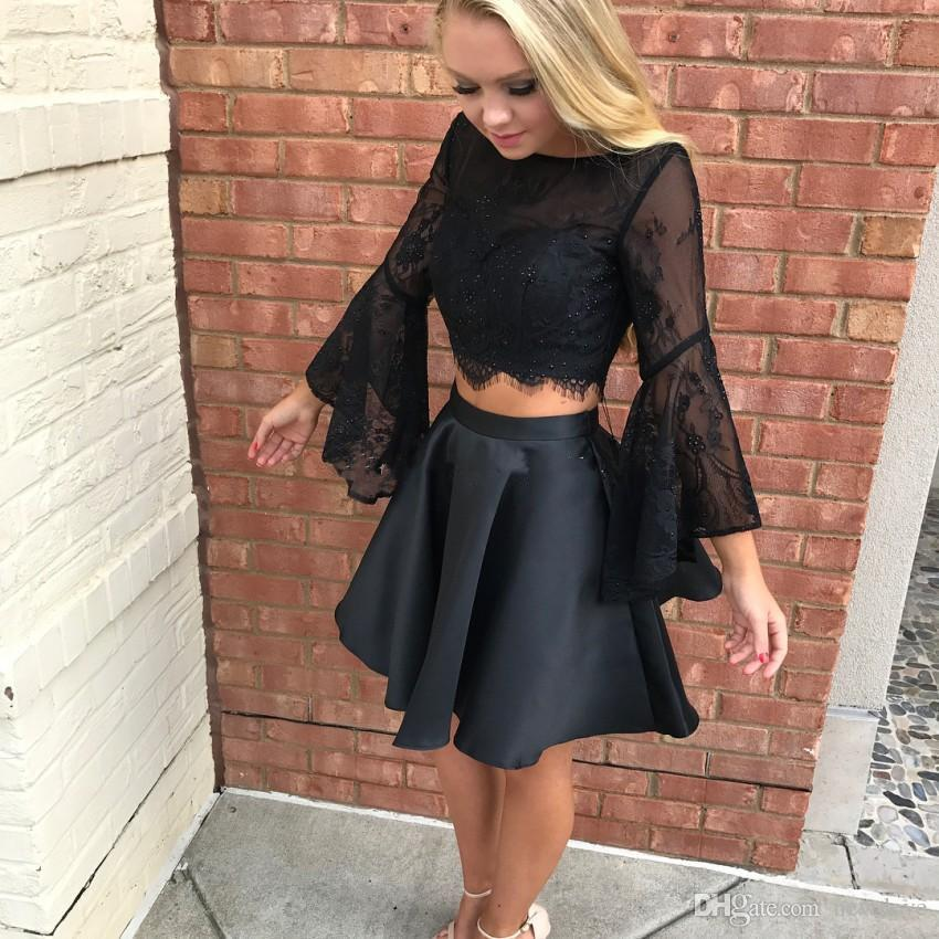 Little Black Party Evening Dress Two Piece 2018 Sheer Lace Homecoming Dress Short Prom With 3/4 Sleeve Backless A-line Formal Party Gowns