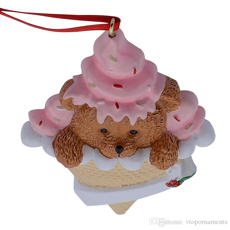 Maxora Bear Ice Cream Resin Handcraft Baby 1st Christmas Ornaments Personalized Gifts Charity Birthday Cake For Party Decoration