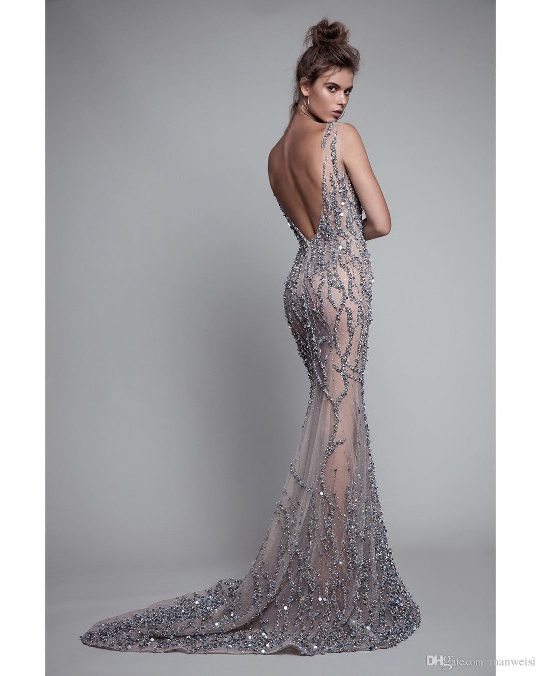 Luxury Berta 2017 Mermaid Evening Dresses Backless Beads Trumpet Prom Gowns Sleeveless Crystal Sequins Sexy Illusion Party Dress
