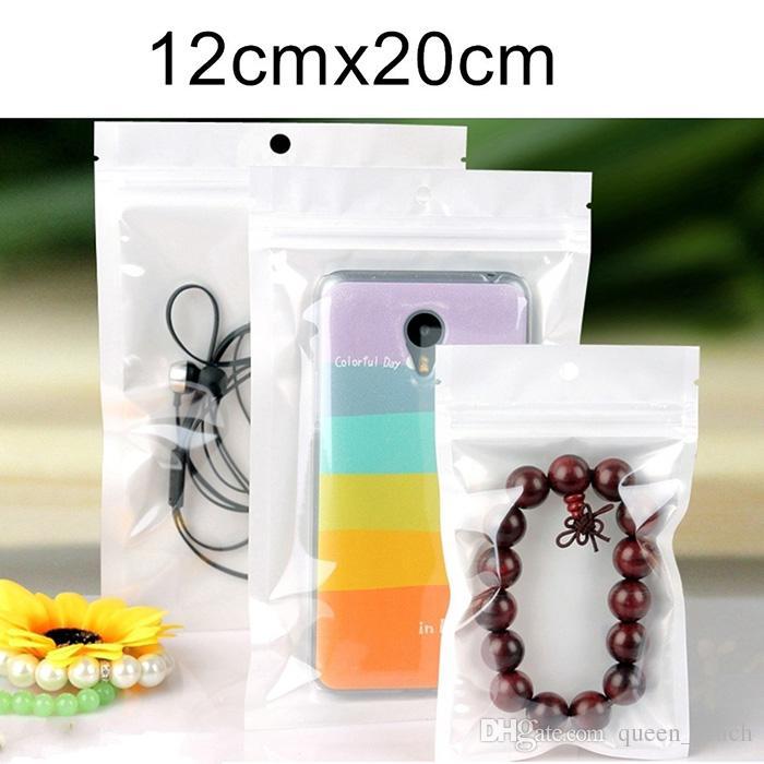 Beste Qualität Klar + weiße Perle Kunststoff Poly OPP Verpackung Reißverschluss Zip-Lock Retail Packages Schmuck Lebensmittel PVC-Kunststoff-Beutel 1000