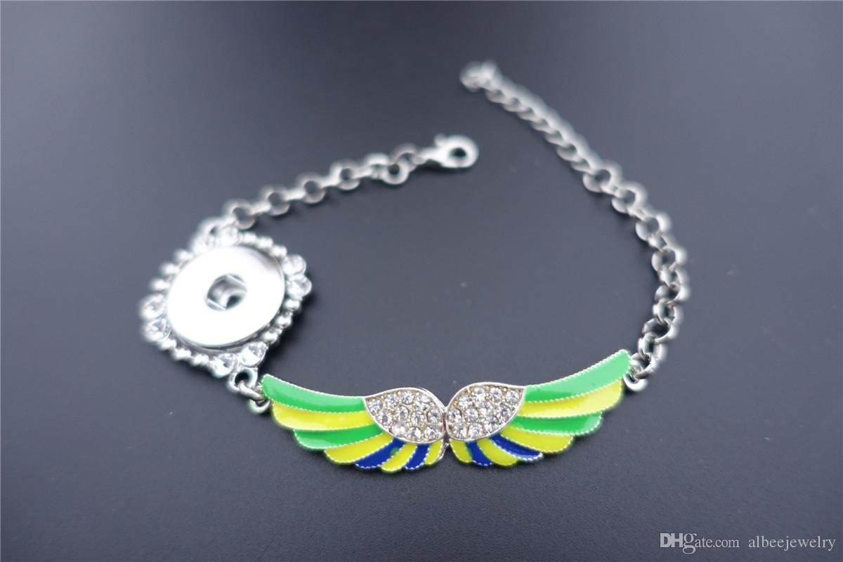 Mix Colors Angel Wings Noosa Chunks 18mm Metal Ginger Snap Button Bracelet jewelry For Women