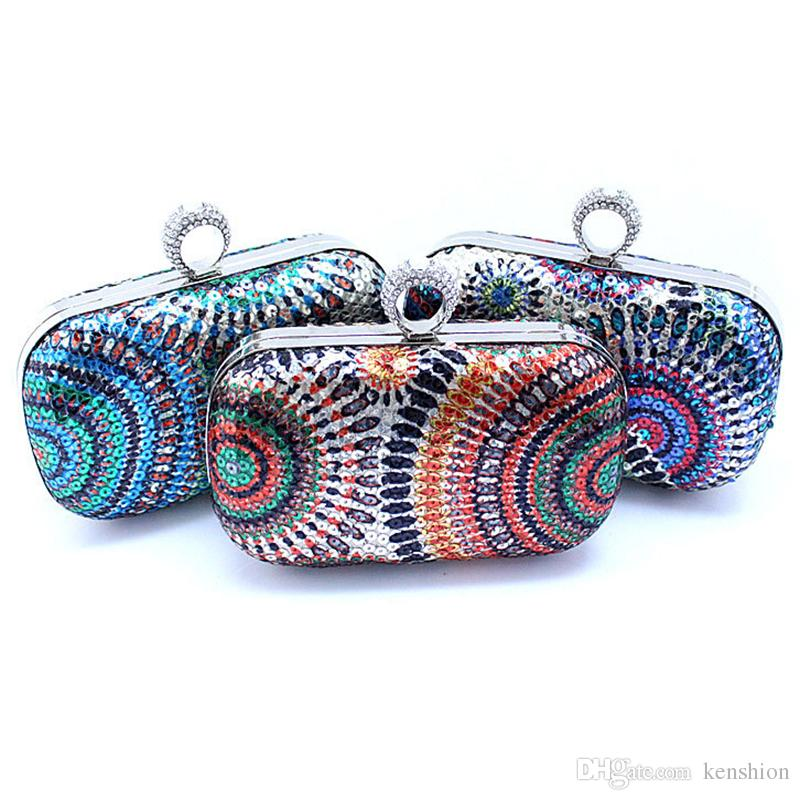 POP Star Beading Peacock Evening Bag Multicolor Sequin Clutch Purse for Fashion Women Shinning Crystal Handbag Knuckle box Ring