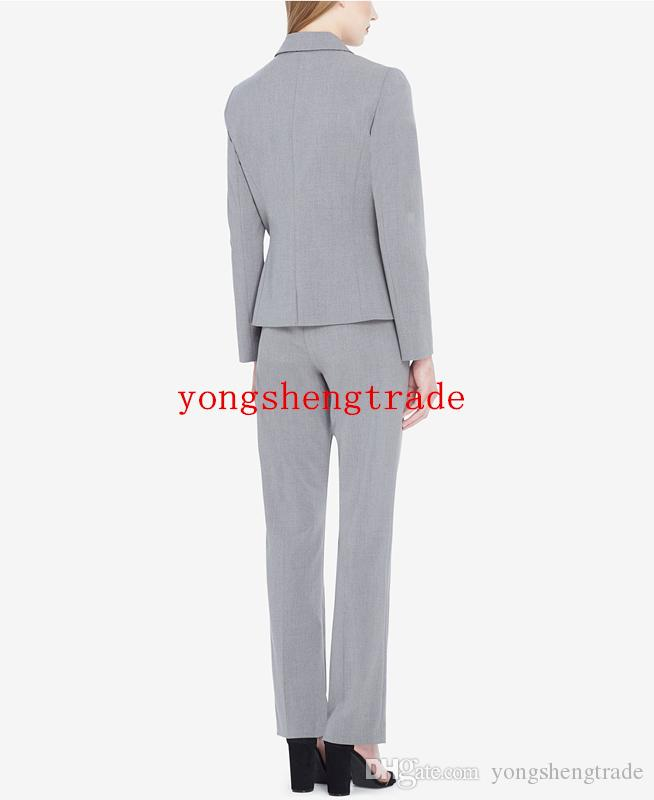 New Style Double-Breasted Pant Suit Custom Made Light Gray Women Business Suit