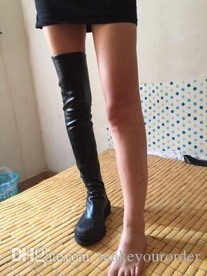 7f58e568e4dd Thigh High Leg Slimming SuperStar Boots For Women Sexy Flat Bottom Stretch  Boots 376 Cat Boots Shoe Sale From Makeyourorder