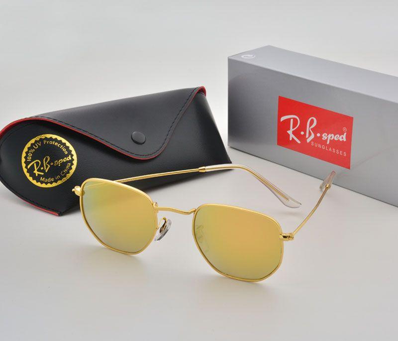 2017 Sunglasses women men Brand Designer Metal Frame Unique Hexagonal Flat lens Coating uv400 Sun glasses Goggle Eyewear with box and cases