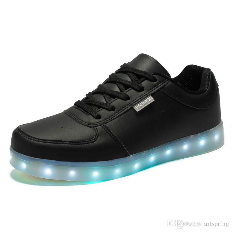 .LED luminous shoes unisex sneakers men & women sneakers USB charging light shoes colorful glowing leisure flat shoes black colors