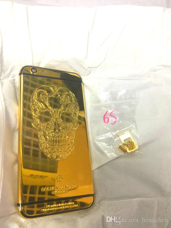 24Kt 24ct real Gold skull Plating Back Housing Cover Skin Battery Door For iPhone 7 7+ Luxury Limited Edition 24Kt Golden for iphone6 6splus