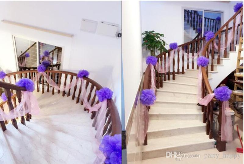 Wedding Stair Handrail Decorative Flowers Marriage Room Decoration Snow Yarn Ball Wedding Party Stair Decoration Wholesale