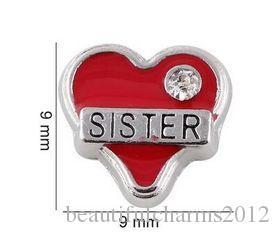 20 , 50шт./лот Красный сестра сердце плавающей медальон подвески, пригодный для магнитного стекла памяти медальон ювелирные изделия делая