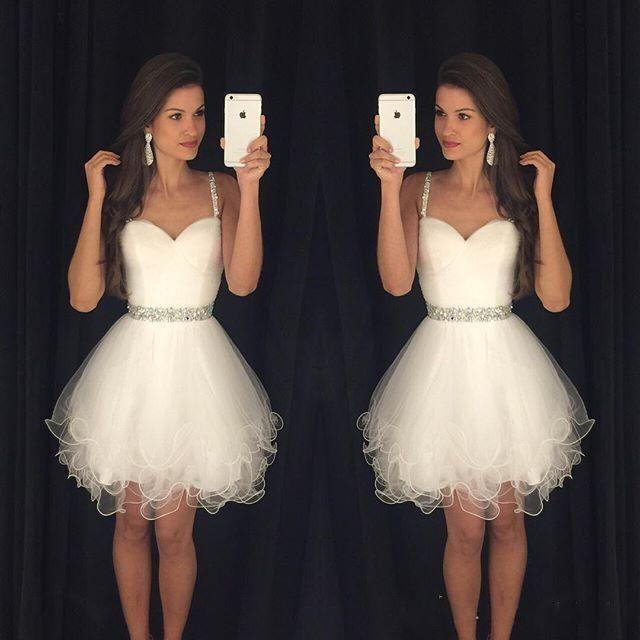 White 2016 Short Prom Dresses Modest Graduation Homecoming Dresses ...